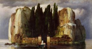 JHG176726 The Isle of the Dead, 1886 (oil on panel) by Bocklin, Arnold (1827-1901); 80x154 cm; Museum der Bildenden Kunste, Leipzig, Germany; Swiss, out of copyright
